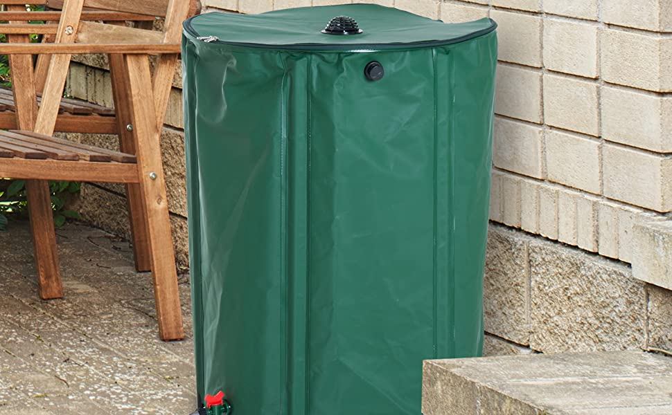 Outsunny 60 Gallon Rainwater Harvesting System Collection Tank with  Collapsible Runoff
