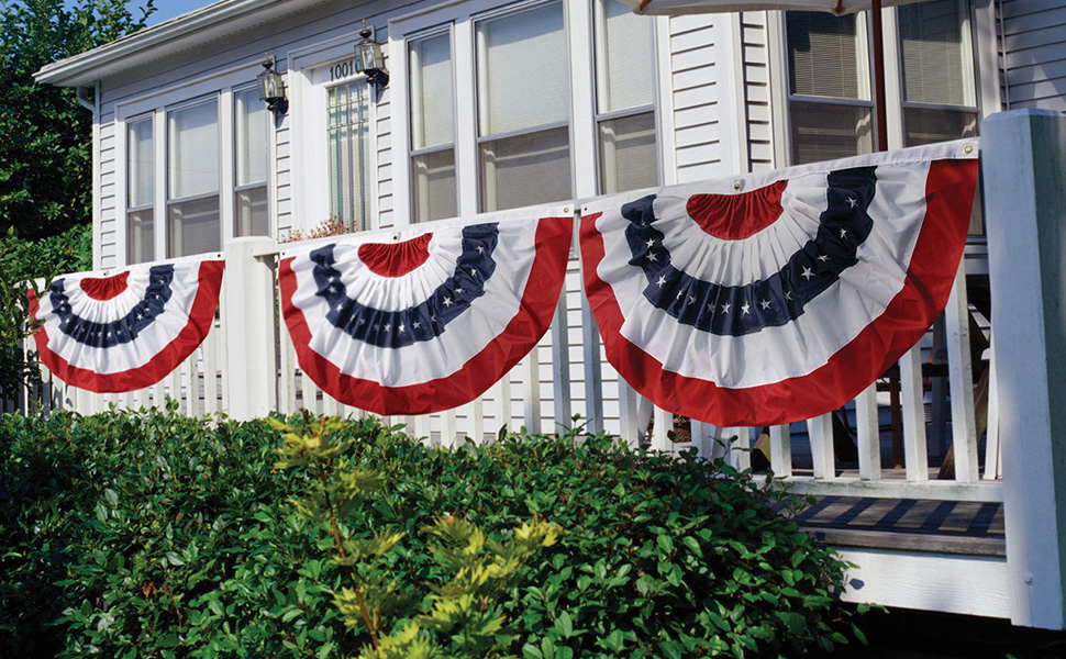 """Double Sided 18x36/"""" Half Fan US American Flag Bunting US Made 1.5 x 3"""