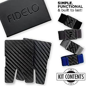 fidelo carbon fiber minimalist slim wallet for men credit card holder with money clip