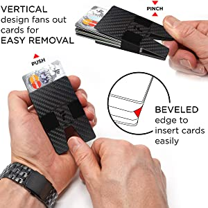 fidelo rfid slim carbon fiber minimalist wallet for men credit card holder with money clip