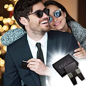 fidelo rfid blocking slim carbon fiber minimalist wallet for men credit card holder with money clip