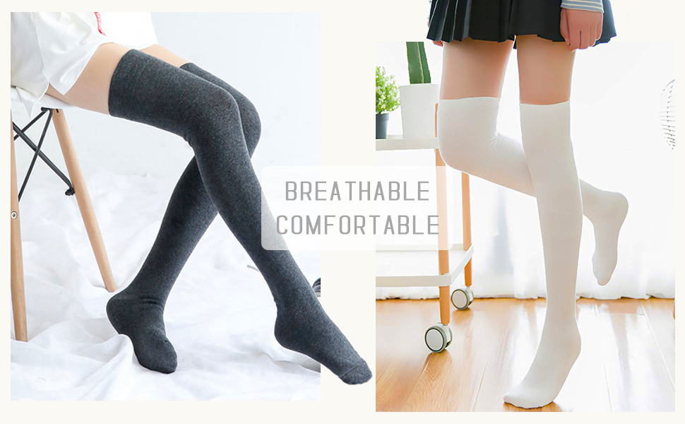 38a19123456 Chalier Womens Long Socks Striped Thigh High Socks Cotton Over the ...