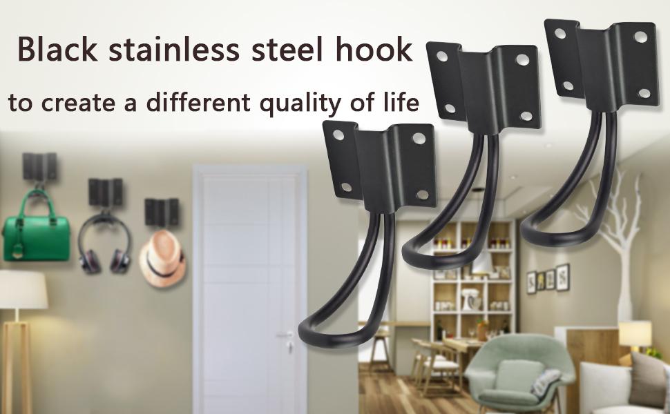 HOVEOX Black Modern Single Hooks Zinc Alloy Sturdy Clothes Towel Hangers Storage Organizer Hook for Garage//Bathroom//Living Rooms /& 50Pcs 0.5 Inch Iron Screws /& Free Screwdriver Wire Hooks 10 Pcs Wide Wall Hooks