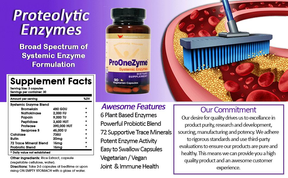 Pro-OneZyme Best Proteolytic Systemic Enzymes Supplement with Nattokinase Plus Probiotics - Anti-inflammatory, Immune Support, Joint Support, Scar ...