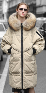 ... Water Resistant Coat with Faux Fur Hood Trim ...