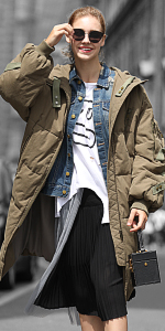 ... Army Style Women Puffer Parka Coat ...