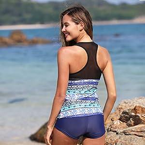 slimming flattering ladies bathing suit set blue tribal