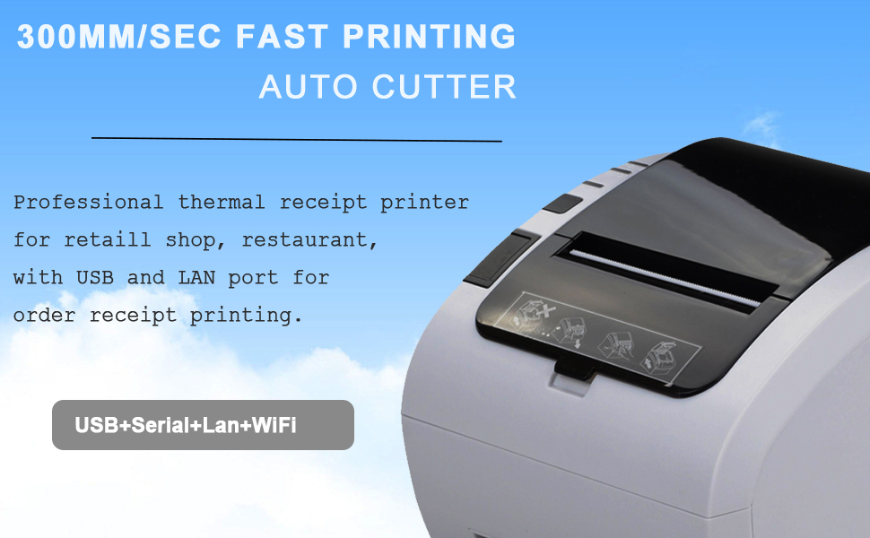 WiFi POS Receipt Printer, MUNBYN White 80mm Direct Thermal Printer with USB Serial Ethernet,Support Android iOS Windows PC 300mm/sec Wireless Printing ...