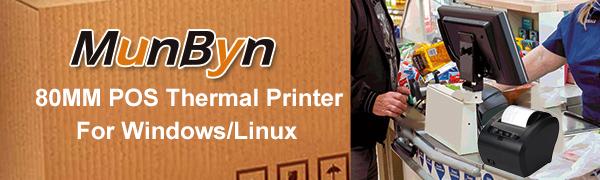 80MM Thermal Printer USB Ethernet LAN Receipt Printer Impresora térmica, MUNBYN Black POS Kitchen Printer with Auto Cutter Support Cash Drawer ESC/POS ...