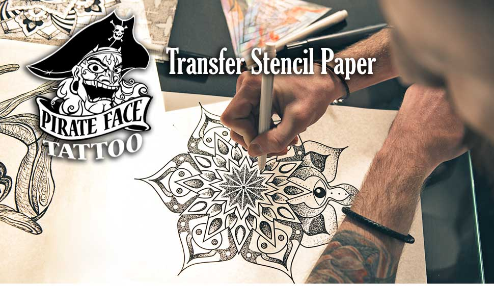 2b38af919 Pirate Face Tattoo transfer stencil paper thermal copier transfer tattoo  equipment and supply