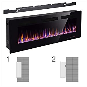 electric fireplace wall recessed and wall mounted way