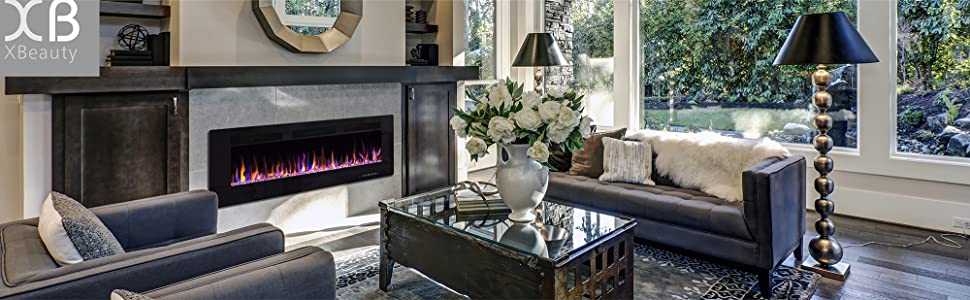electric fireplace in wall