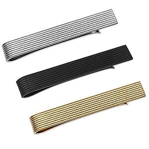 Polished Finish 1.5 Inch Long Puentes Denver 3 Pcs Tie Clip Set