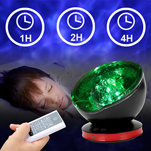 remote control night light with sounds night light projector for kids with music ocean wave light