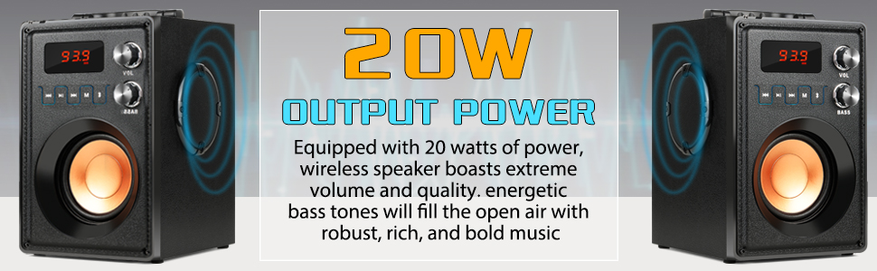 20W OUTPUT POWER  wireless speaker boasts extreme volume and quality