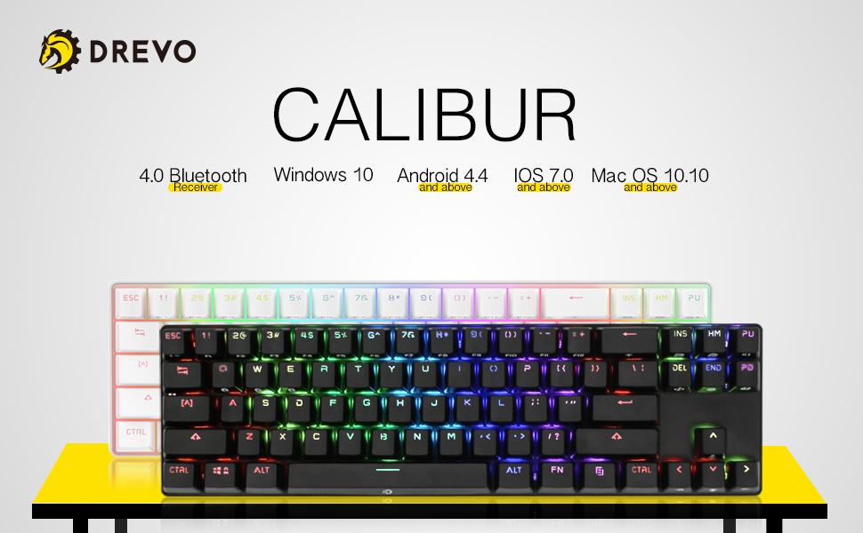 Amazon Com Drevo Calibur 71 Key Rgb Led Backlit Wireless Bluetooth 4 0 Usb Wired Gaming Mechanical Keyboard Blue Switch Sliver White Computers Accessories