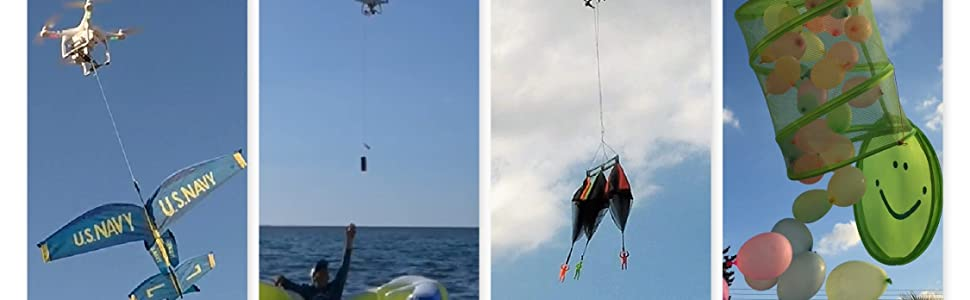 Drone, Drop, Delivery, Fishing, balloons, parachutes, beer, sea, fun, girl, DJI, Phantom, Mavic, air