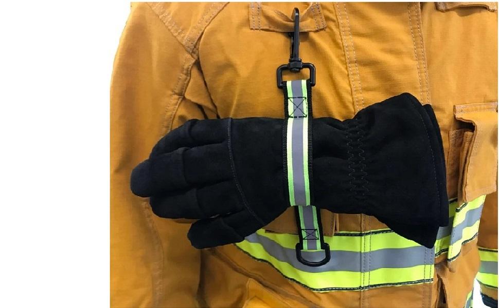 firefighter work glove holder lightweight straps fire workout construction equipment fireman tool