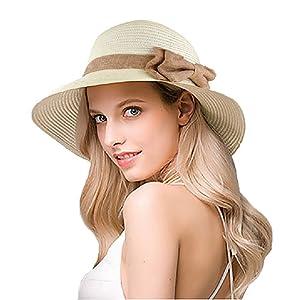 27e00f5f639 EINSKEY Womens Straw Sun Hat Bowknot Wide Brim Bucket Hat with Neck ...