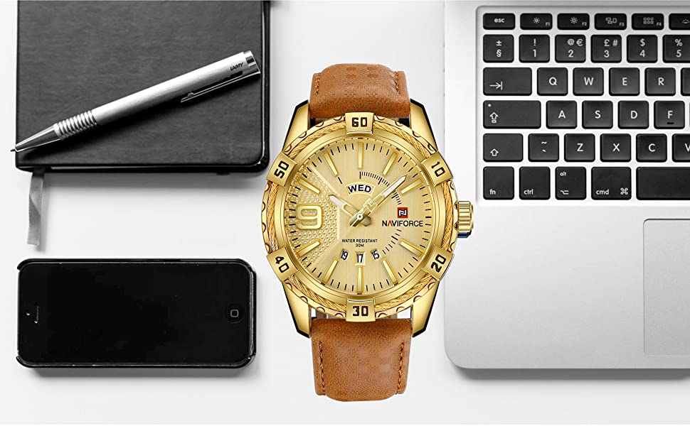 men watch relojes de hombre sport military casual watches waterproof gold leather band wristwatch