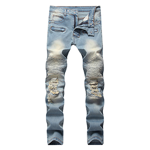 DANT BULUN Mens Ripped Slim Straight Fit Moto Biker Jeans with Zipper Deco