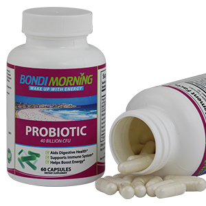 Probiotic Bottle together with Open bottle showing size of capsules