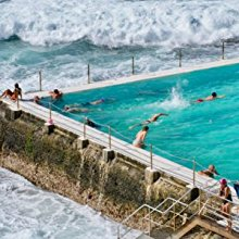 Swimmers doing laps in Bondi Icebergs