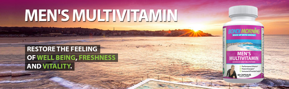 Banner showing beautiful fresh early morning in Bondi with bottle and energy and vitality message