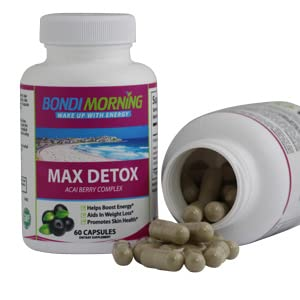 Max Detox Bottle with open bottle showing pills
