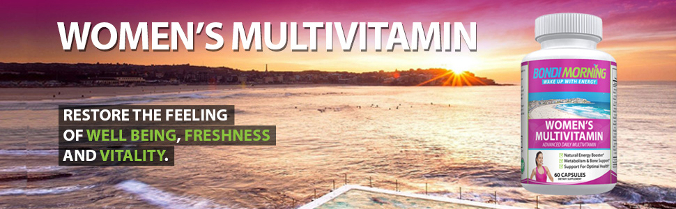 Image of fresh early morning on Bondi Beach together with bottle and message of energy and vitality