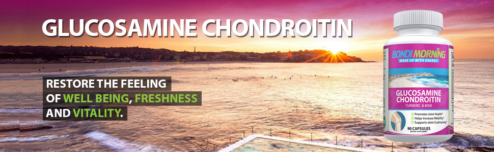 Image of beautiful early morning on Bondi Beach with bottle and message of energy and vitality