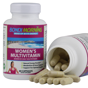 Woman's Multivitamin Bottle together with open bottle showing size of capsules