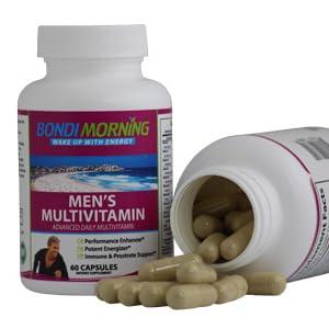 Open bottle with Men's Multivitamin Capsules