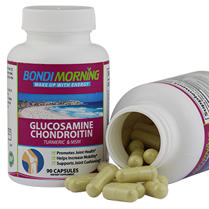 Glucosamine Bottle together with open bottle showing size of capsules
