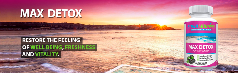 Beautiful early morning picture of sun rising on Bondi Beach with Max Detox Bottle.
