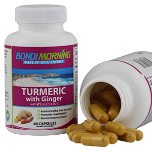 Turmeric Bottle together with open bottle showing size of capsules