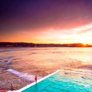 Early morning vibrant sunrise at Bondi Beach