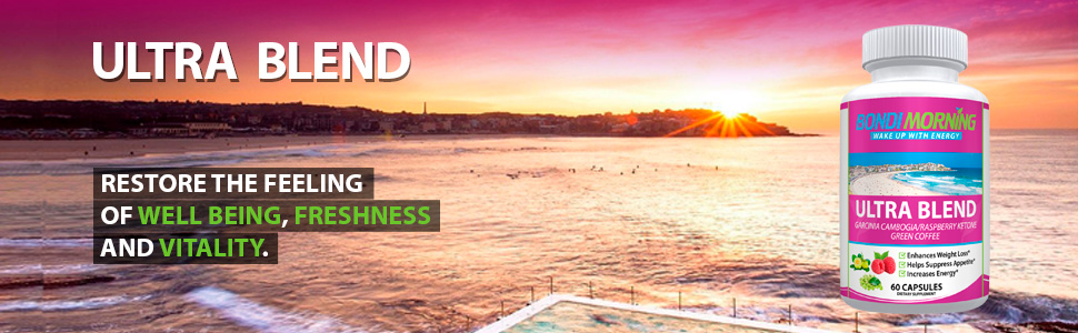 Beautiful image of sun rising on Bondi beach with Ultra Blend Bottle