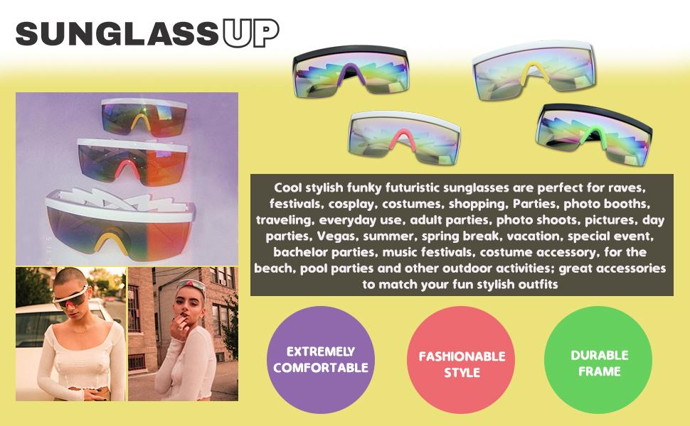 80/'s Retro Vintage Sunglasses Purple White frame Mirror lens way
