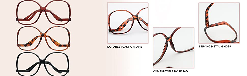 0a119b39df Extremely Oversized Round Zigzag Clear Lens Glasses Upside Down Plastic  Frame
