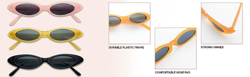 Womens Extra Narrow Goth Retro Cat Eye Plastic Eye Glasses