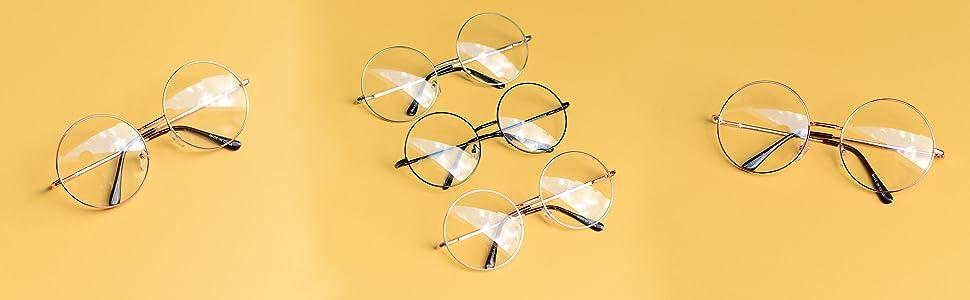 383588351a7 Large oversized round circular clear lens non prescription reading sun glasses  gold black silver