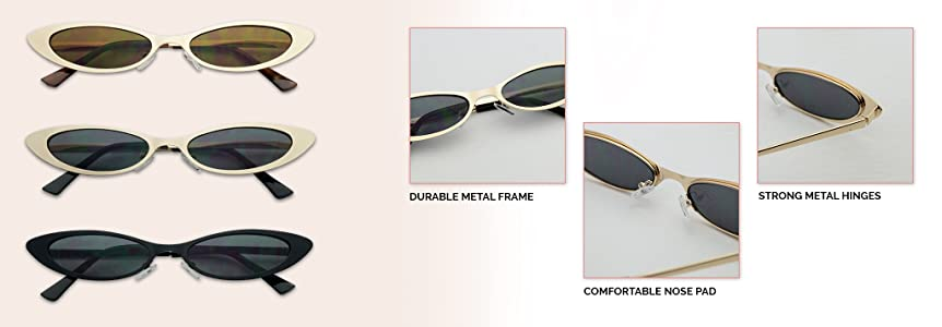 Small Narrow Thin Flat Metal Frame Oval 90s Vintage Cat Eye Slim Sun Glasses