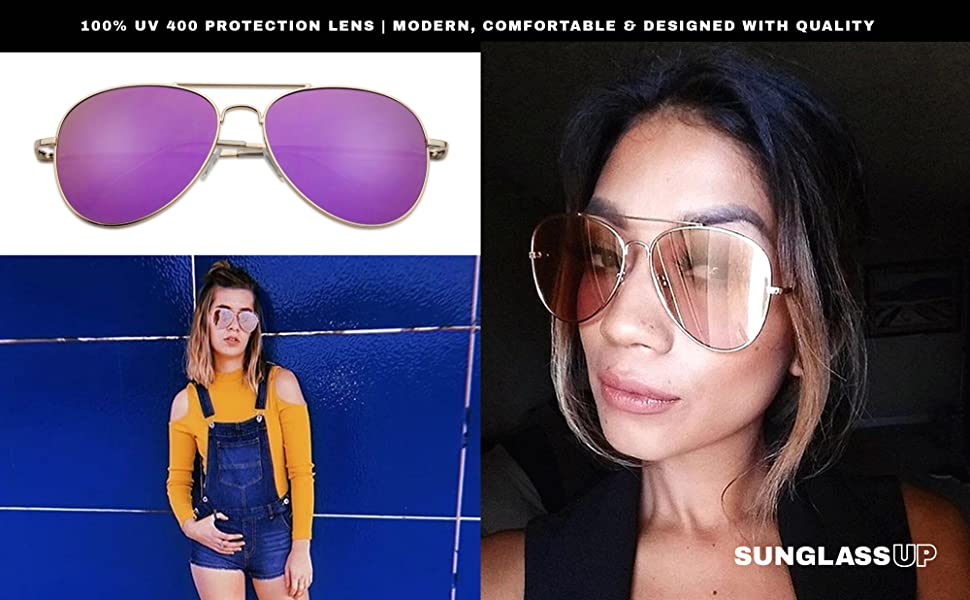 classic timeless popular style sumglasses worn by fashionable ladies in a casual trendy outfit