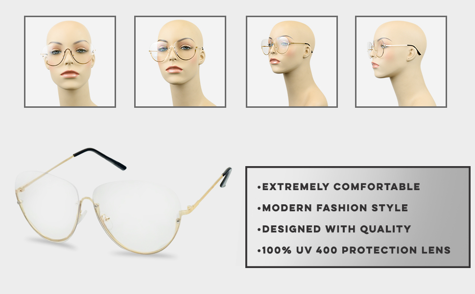 869d414b99 Stylish Half Rimless Frame See through transparent eyeglasses for Women and  Men fake cheaters style