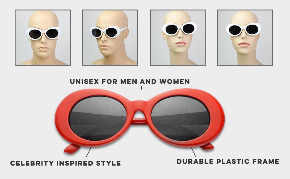 Colorful Oval Kurt Cobain Inspired Clout Goggles Mod Round Pop Fashion Nirvana Sunglasses