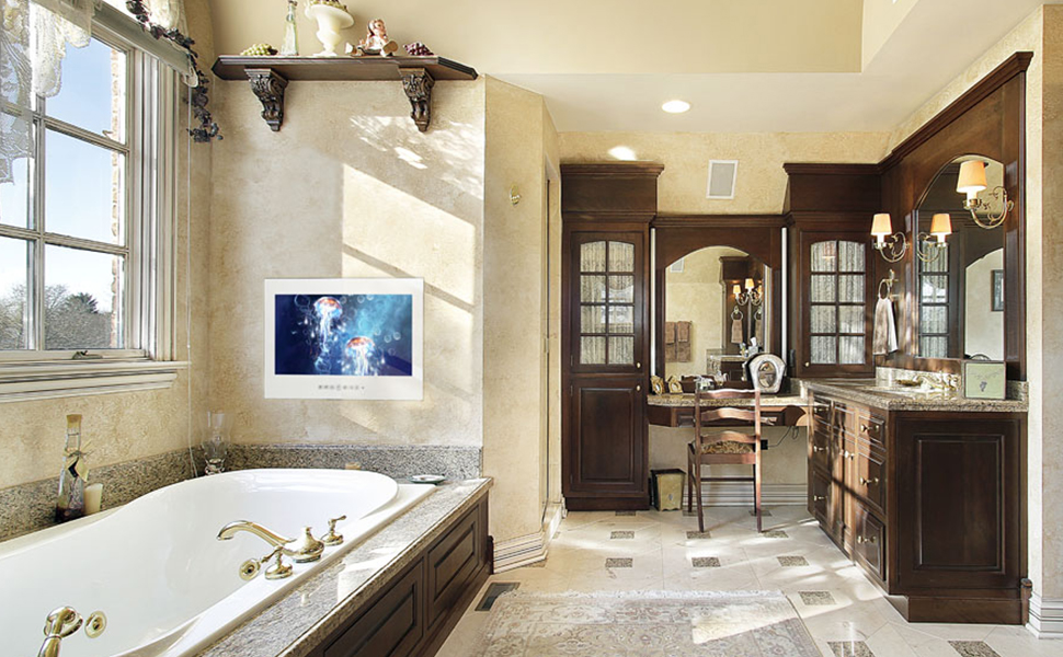 Amazon Com Soulaca 21 5 Inches Waterproof Android Vanishing Mirror Bathroom 1080hd Led Tv Home Kitchen