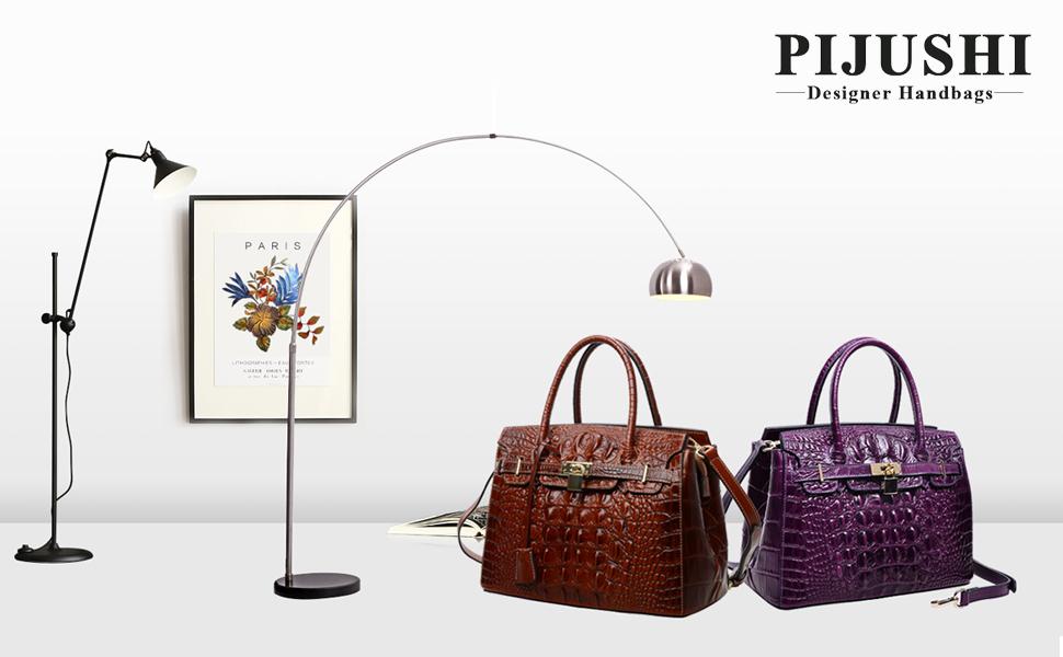 9e3f7b958166 PIJUSHI Women s Handbags Crocodile Top Handle Satchel Bags Designer Padlock  Handbags For Women