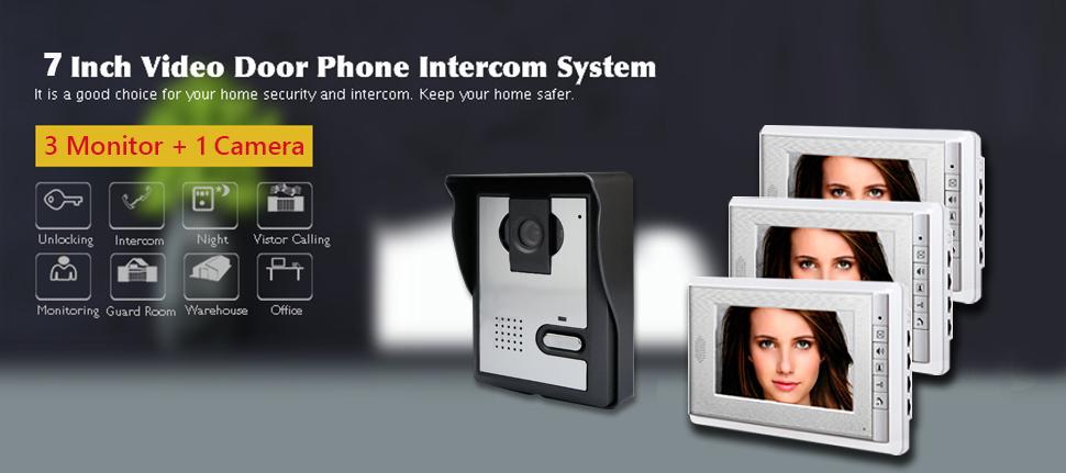 AMOCAM 7\  LCD Monitor Video Intercom Doorbell 1- Camera 3- monitor System  sc 1 st  Amazon.com & Amazon.com: AMOCAM 7\