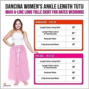 d54497e6211c Dancina Women's Girls' Ankle Length Tutu Maxi A-line Long Tulle ...